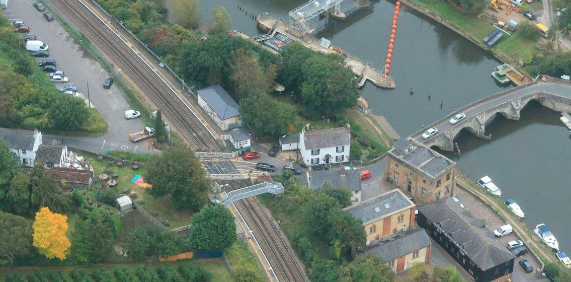 Image showing overhead view of East Farleigh level crossing