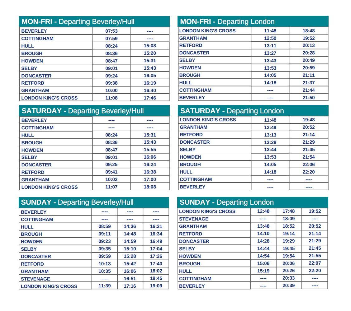 Hull Trains interim timetable