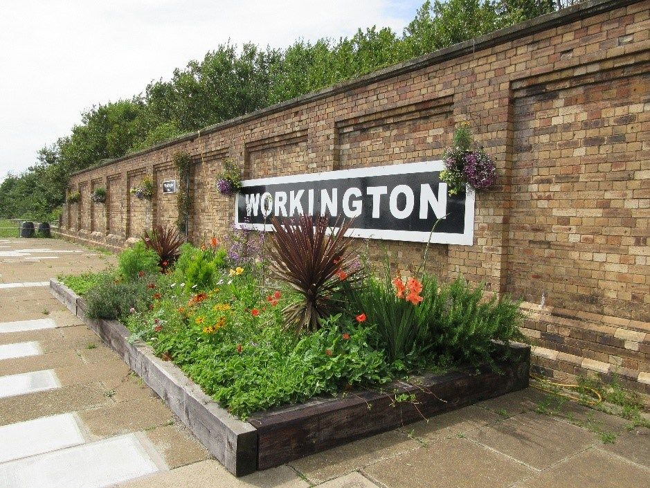 Image showing flower display at Workington station