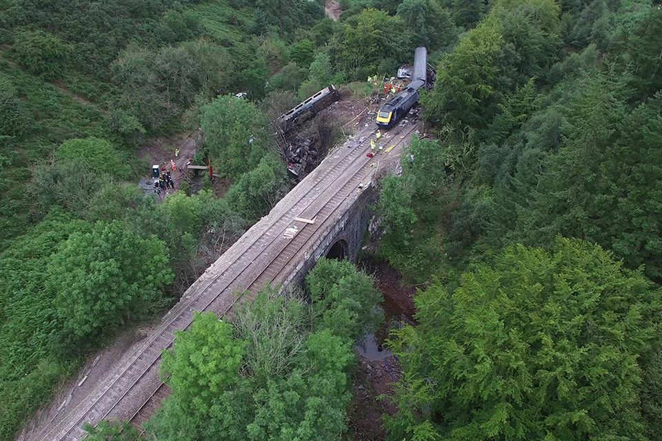 Image showing aerial view of the Carmont derailment
