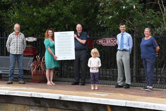 Image showing unveiling of hte Cpatain Tom poem at Millbrook station