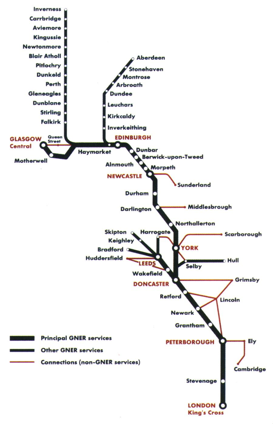 Image showing the GNER route map circa 2005.