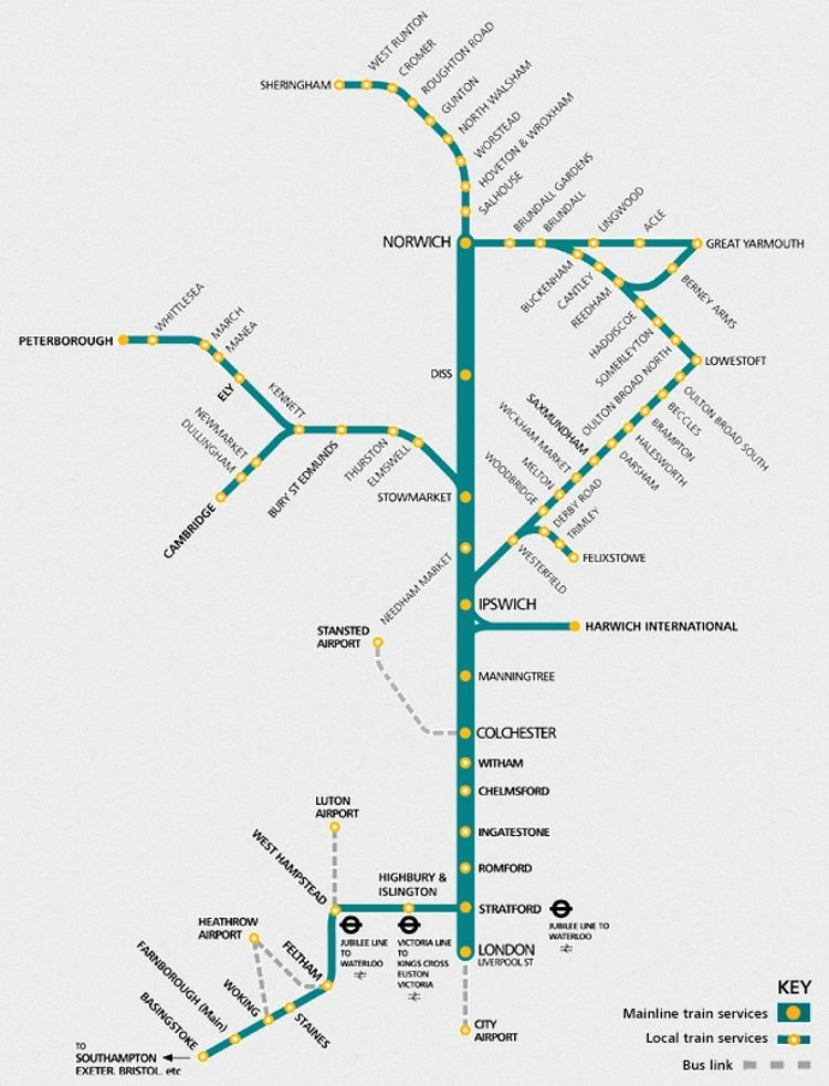 Image showing the Anglia Railways route map circa 2002.