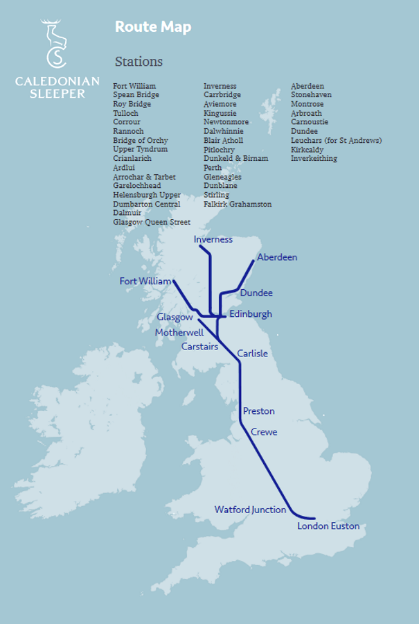 Image showing the Caledonian Sleeper route map circa 2019.