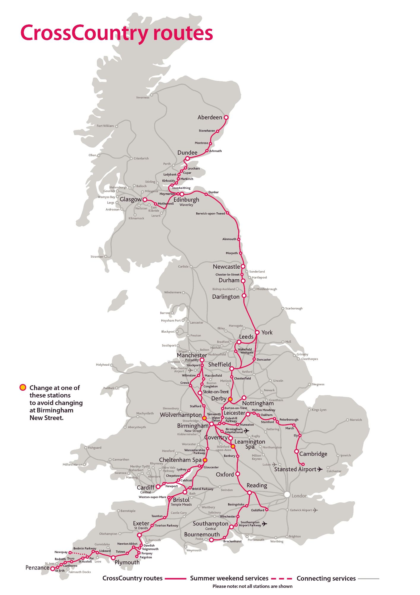 Image showing the CrossCountry trains route map circa 2021.