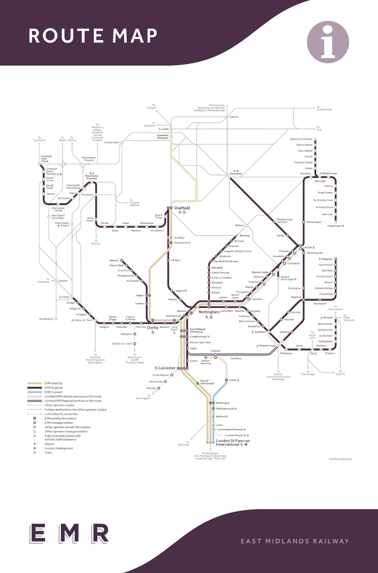 Image showing the East Midlands railway route map circa 2021.