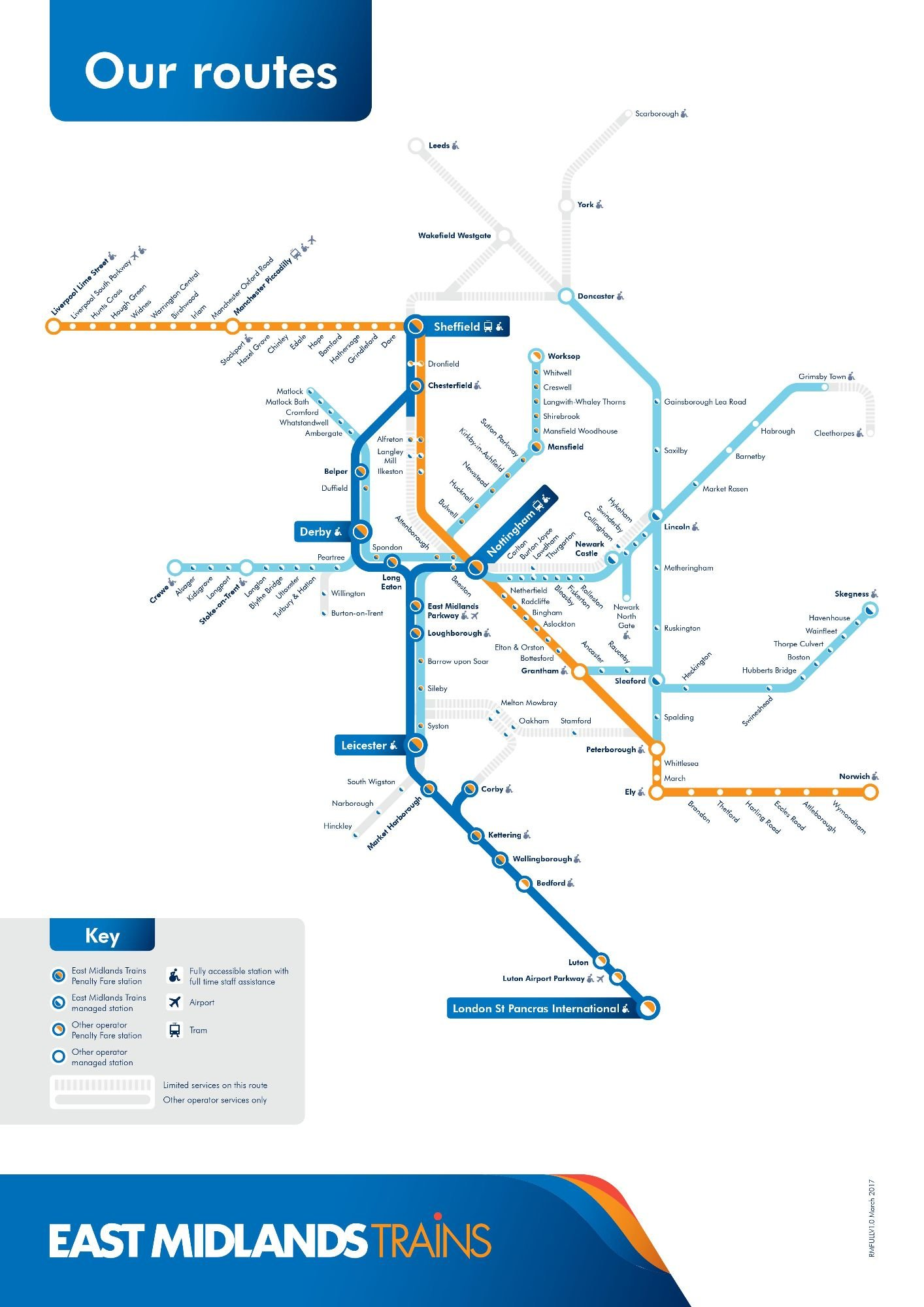 Image showing the East Midlands Trains route map circa 2018.