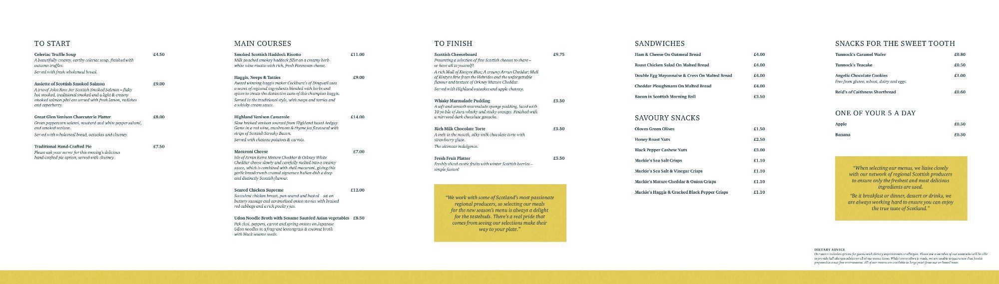 Image showing a sample of the Caledonian Sleeper lowlander menu circa 2019.