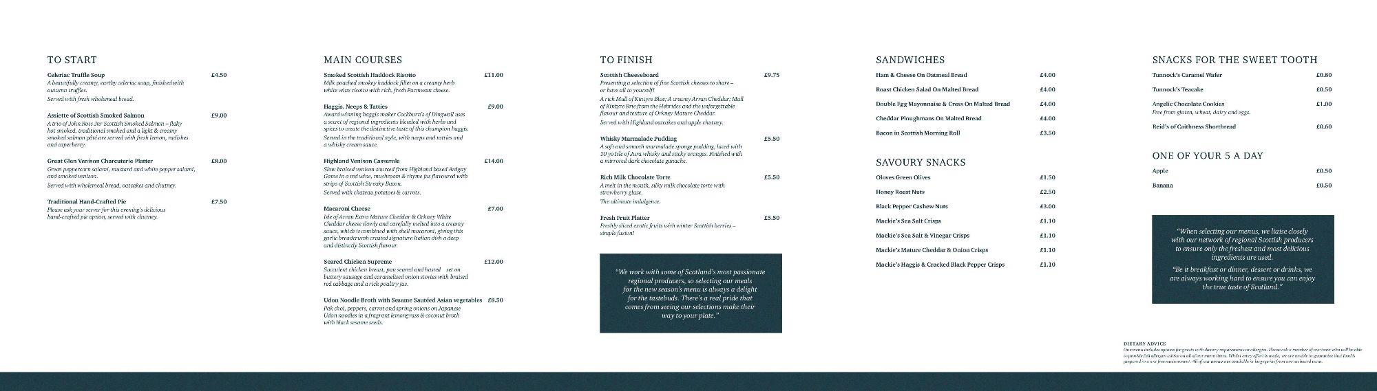 Image showing a sample of the Caledonian Sleeper highlander menu circa 2019.