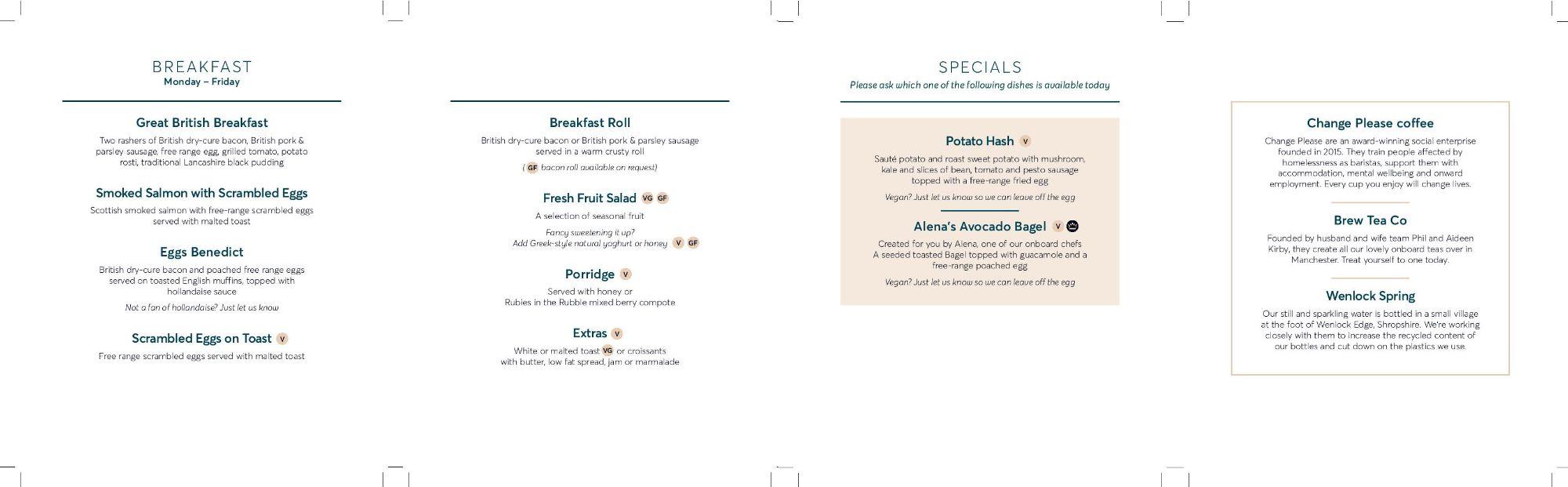 Image showing a sample of the Avanti West Coast breakfast menu, circa 2020.