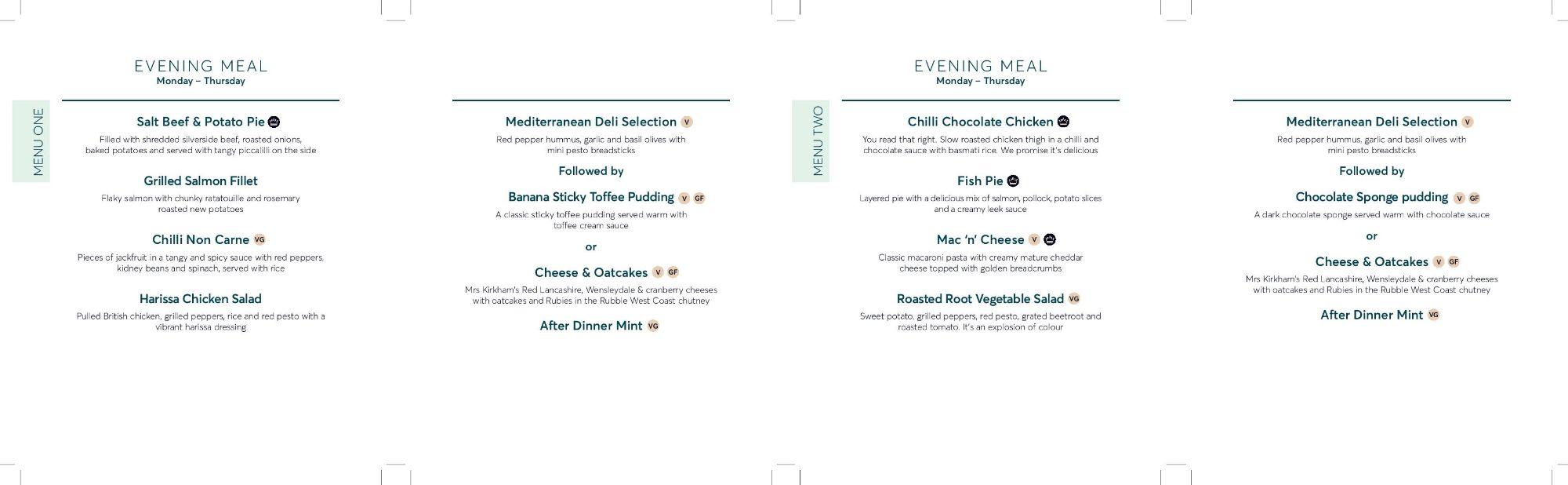 Image showing a sample of the Avanti West Coast evening menu, circa 2020.