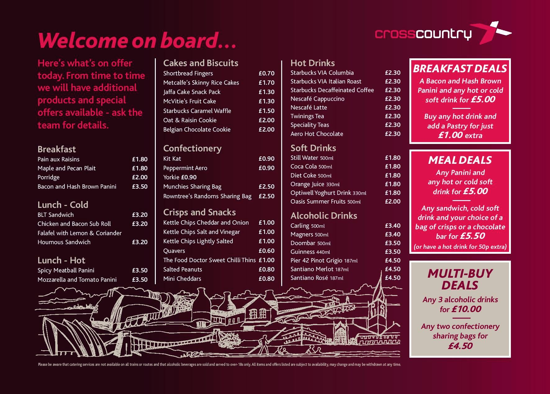 Image showing the CrossCountry Trains at seat menu circa 2017.
