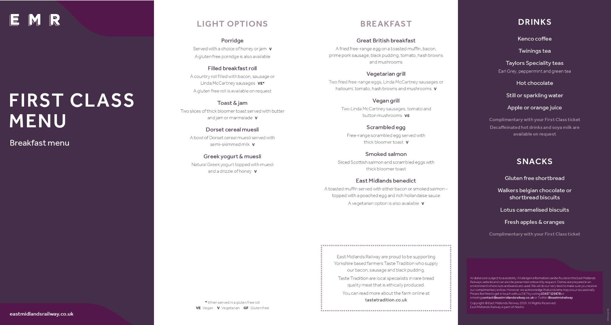 Image showing the East Midlands Railway first class breakfast menu circa 2021.
