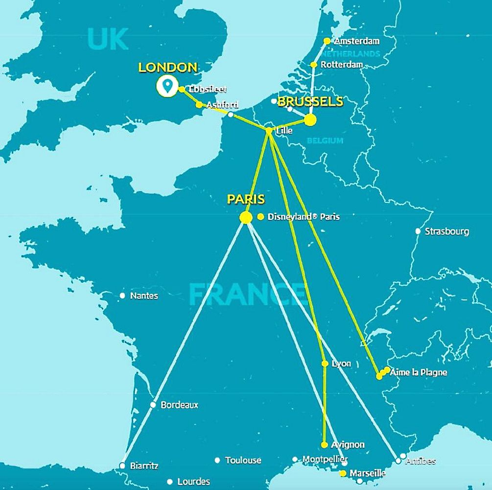 Image showing the Eurostar route map circa 2018.