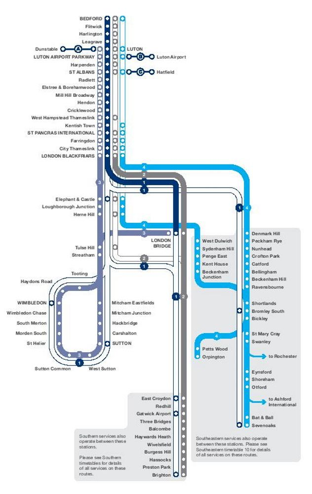 Image showing the First Capital Connect Thameslink route map circa 2014.