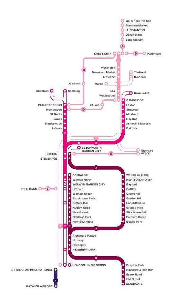 Image showing the First Capital Connect Great Northern route map circa 2014.