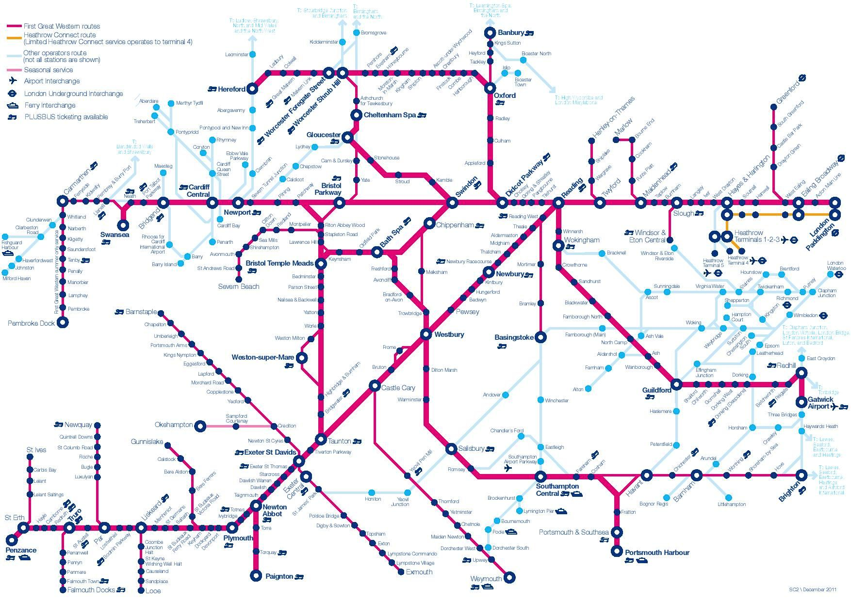 Image showing the First Great Western route map circa 2013.