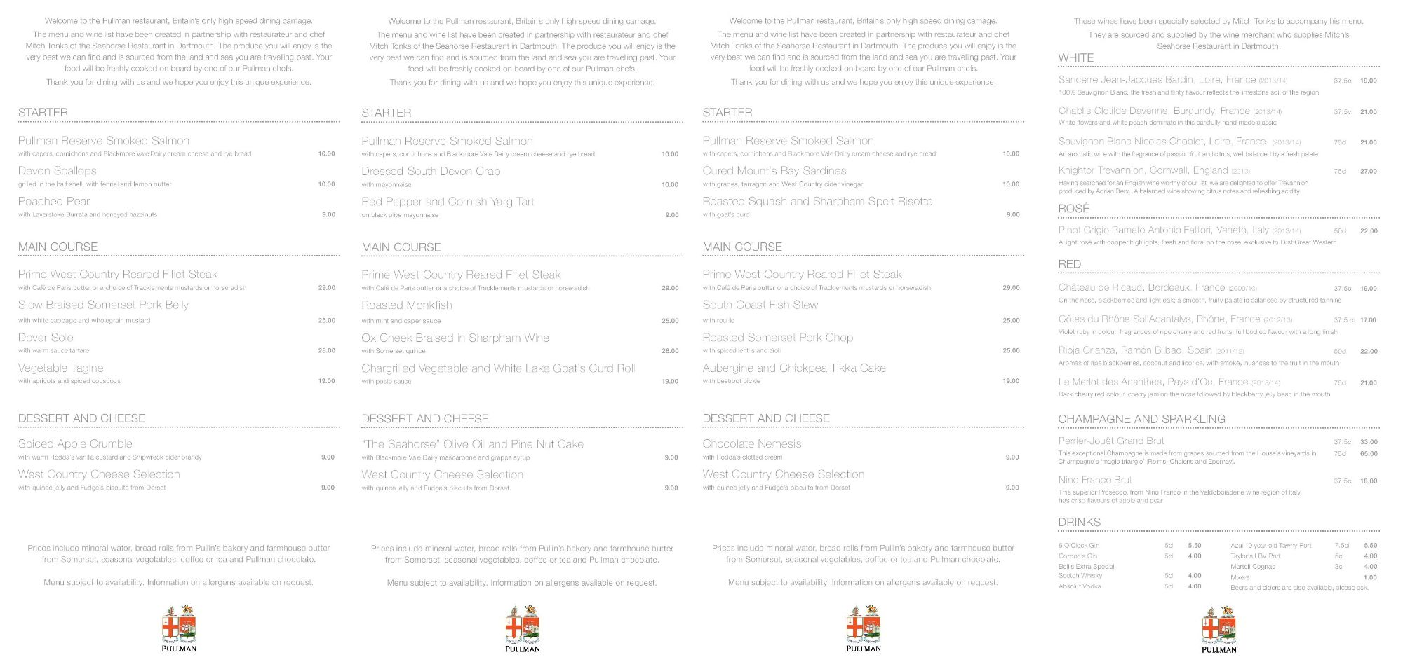 Image showing a sample of the First Great Western Pullman dining menu circa 2015.