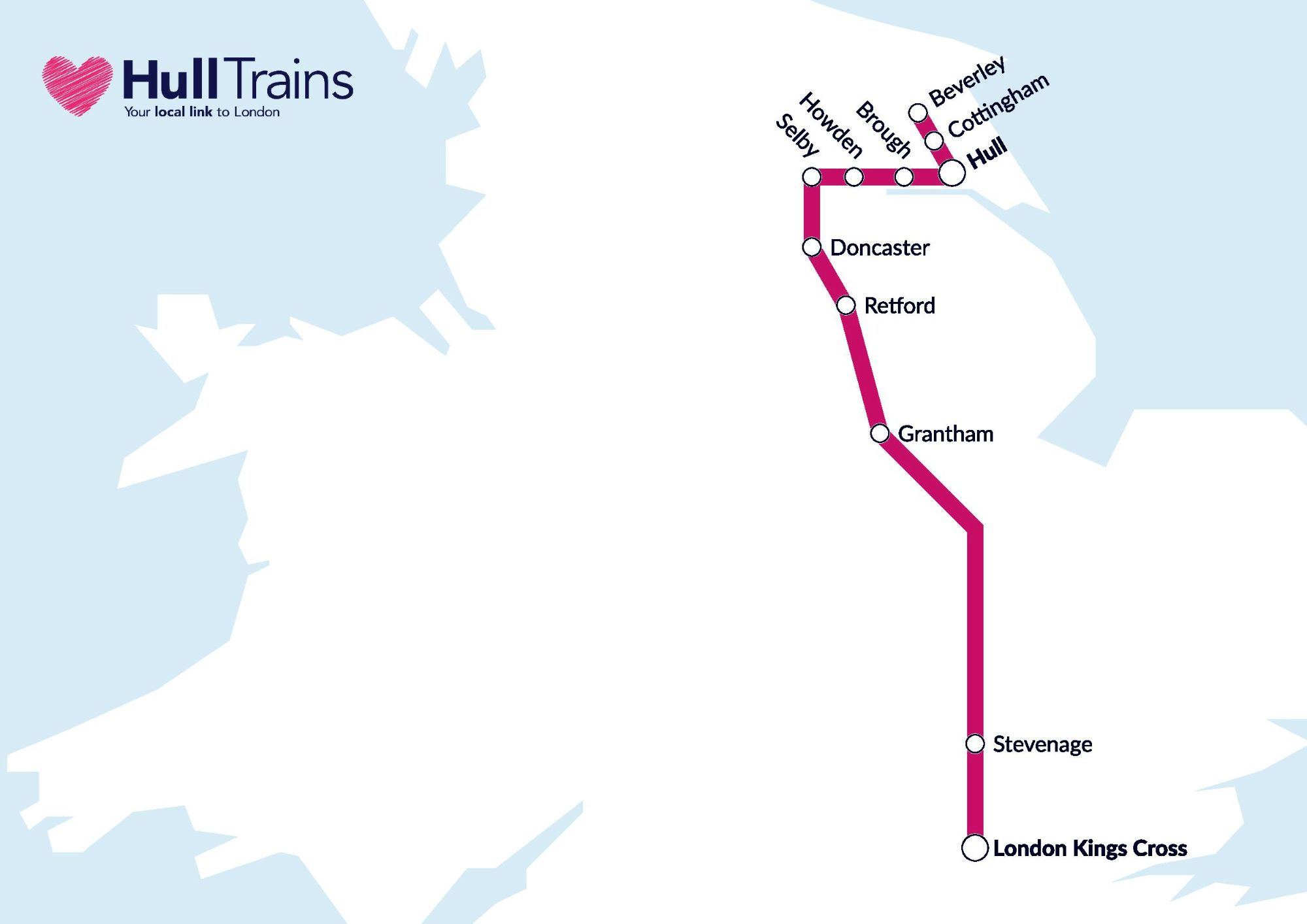 Image showing the First Hull Trains route map circa 2020.