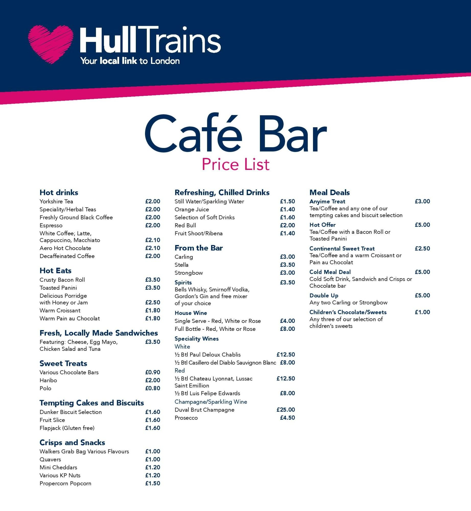 Image showing a sample of the First Hull Trains cafe bar menu circa 2016.