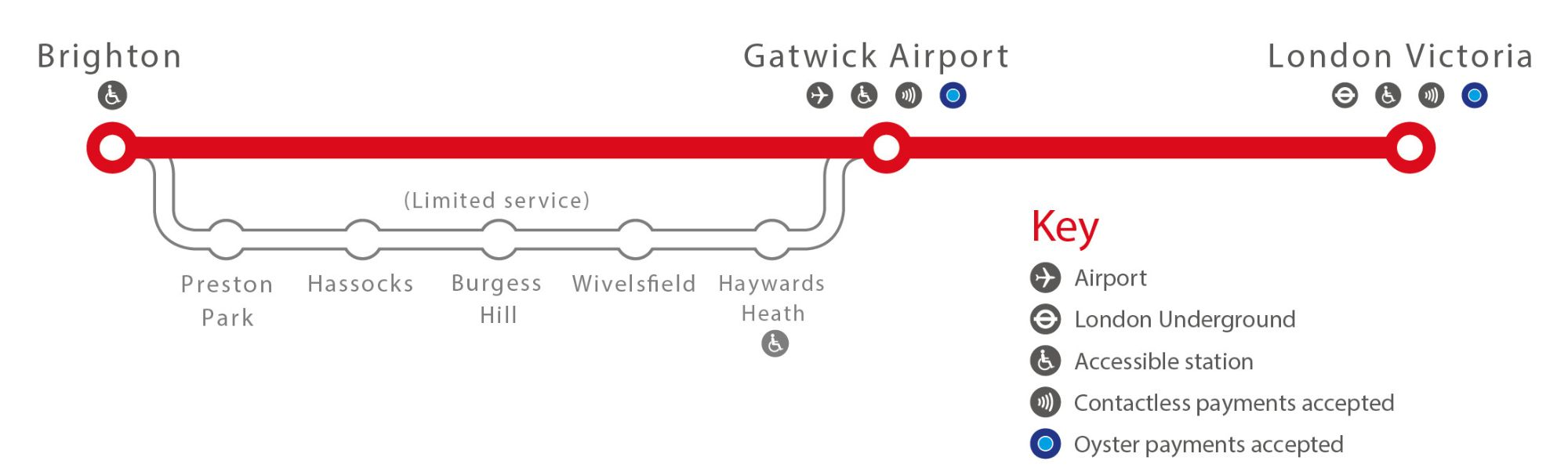 Image showing the Gatwick Express route map circa 2019.