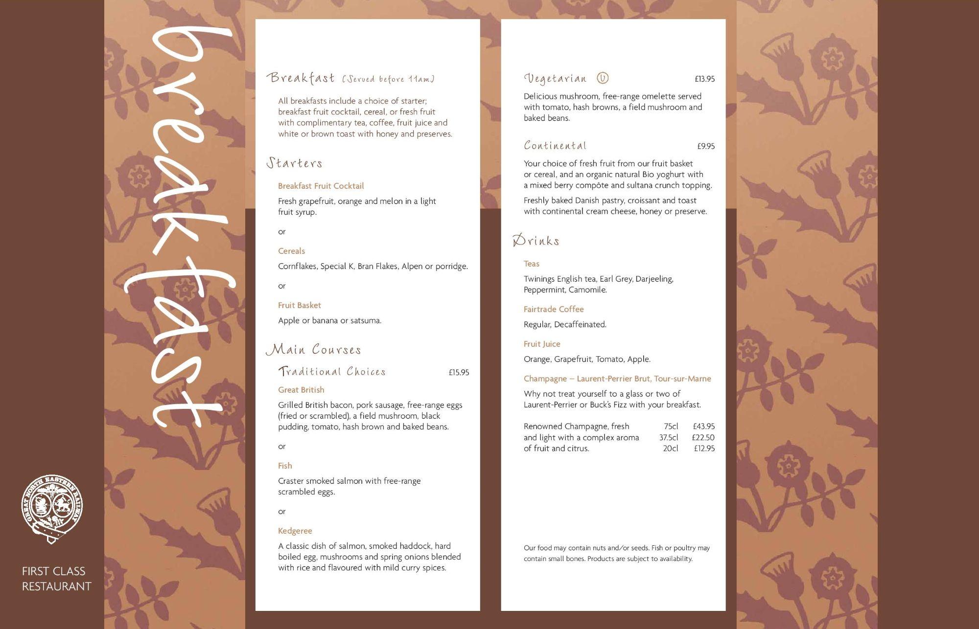 Image showing sample of the GNER breakfast menu circa 2007.