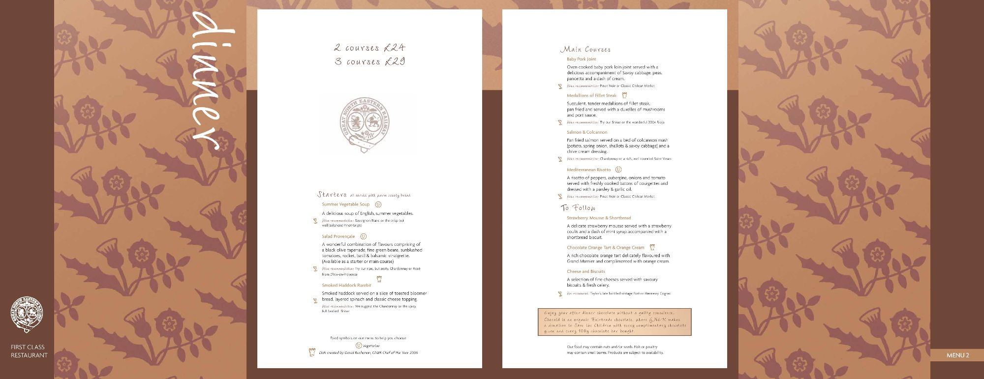 Image showing sample of the GNER dinner menu circa 2007.