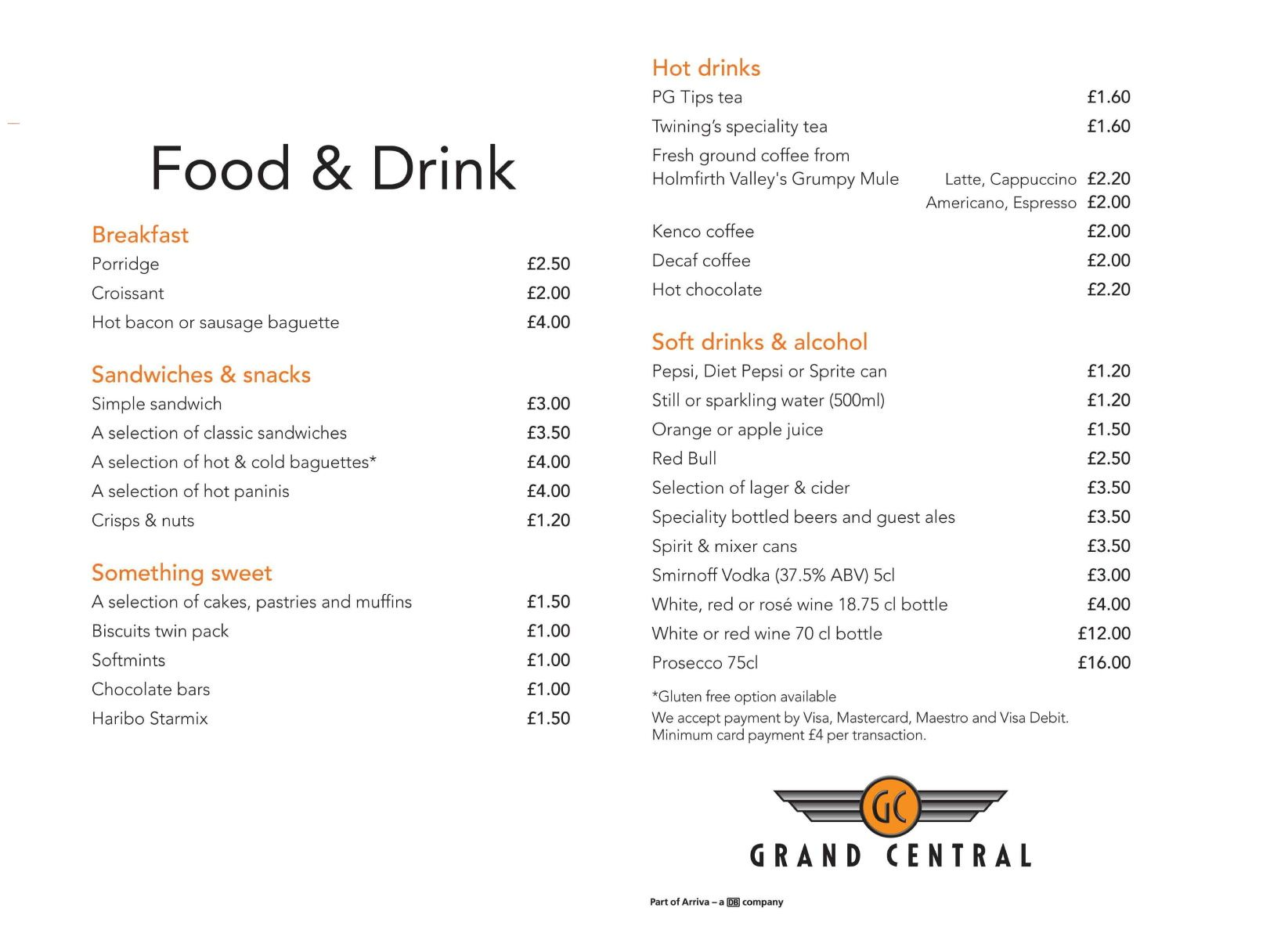 Image showing a sample of the Grand Central food & drink menu circa 2013.