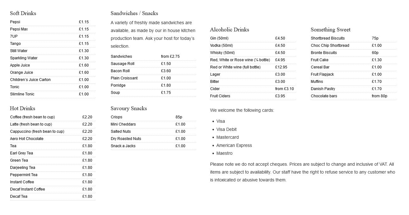 Image showing a sample of the Greater Anglia menu circa 2014.