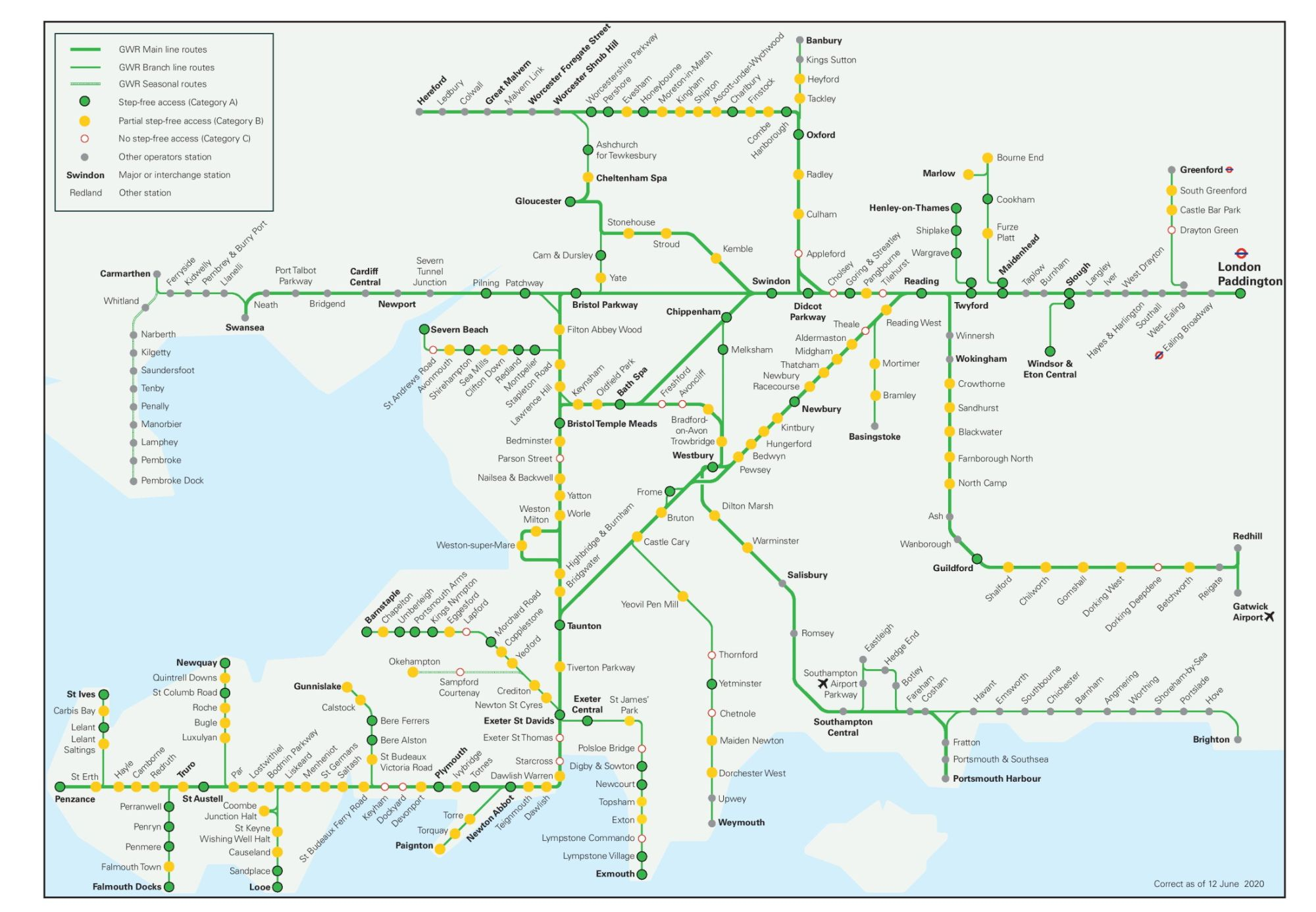Image showing the Great Western Railway route map circa 2021.