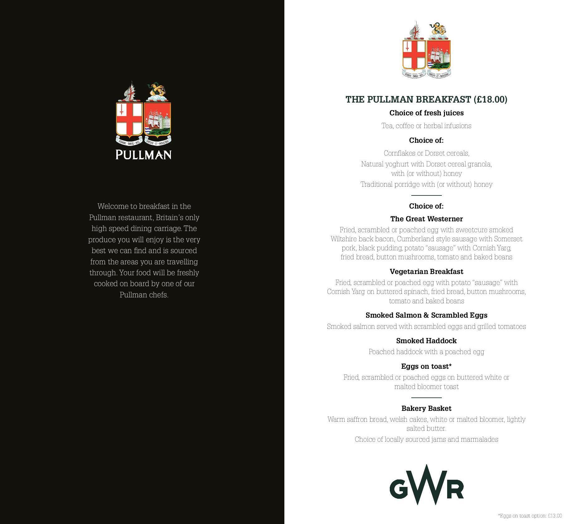Image showing sample of the Great Western Railway Pullman dining breakfast menu circa 2019.