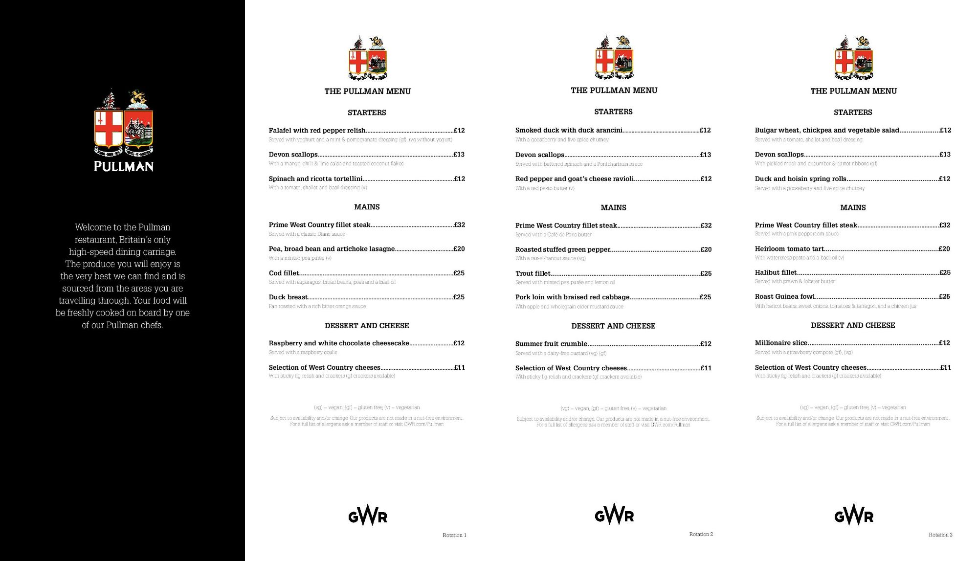 Image showing sample of the Great Western Railway Pullman dining lunch and dinner menu circa 2019.