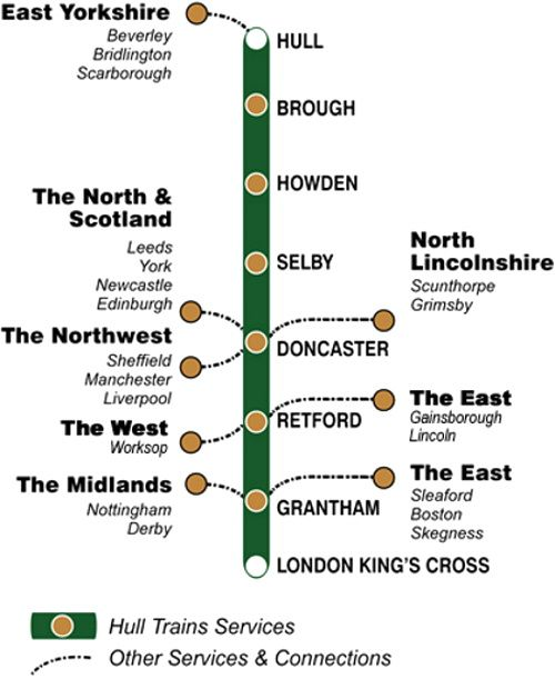 Image showing the Hull Trains route map circa 2007.