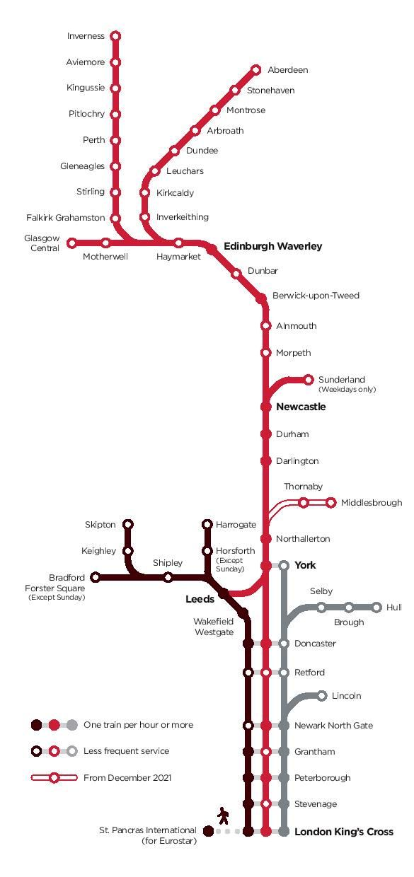 Image showing the LNER route map circa 2021.