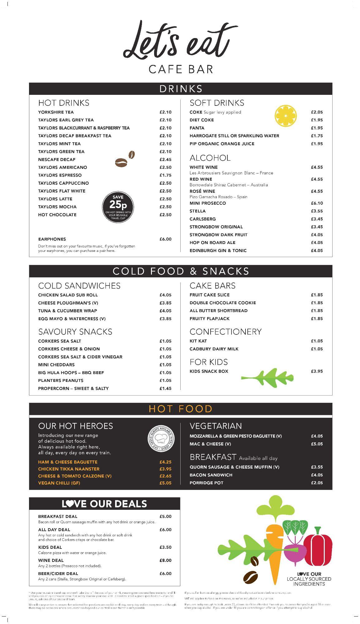 Image showing a sample of the LNER Cafe Bar menu circa 2019.