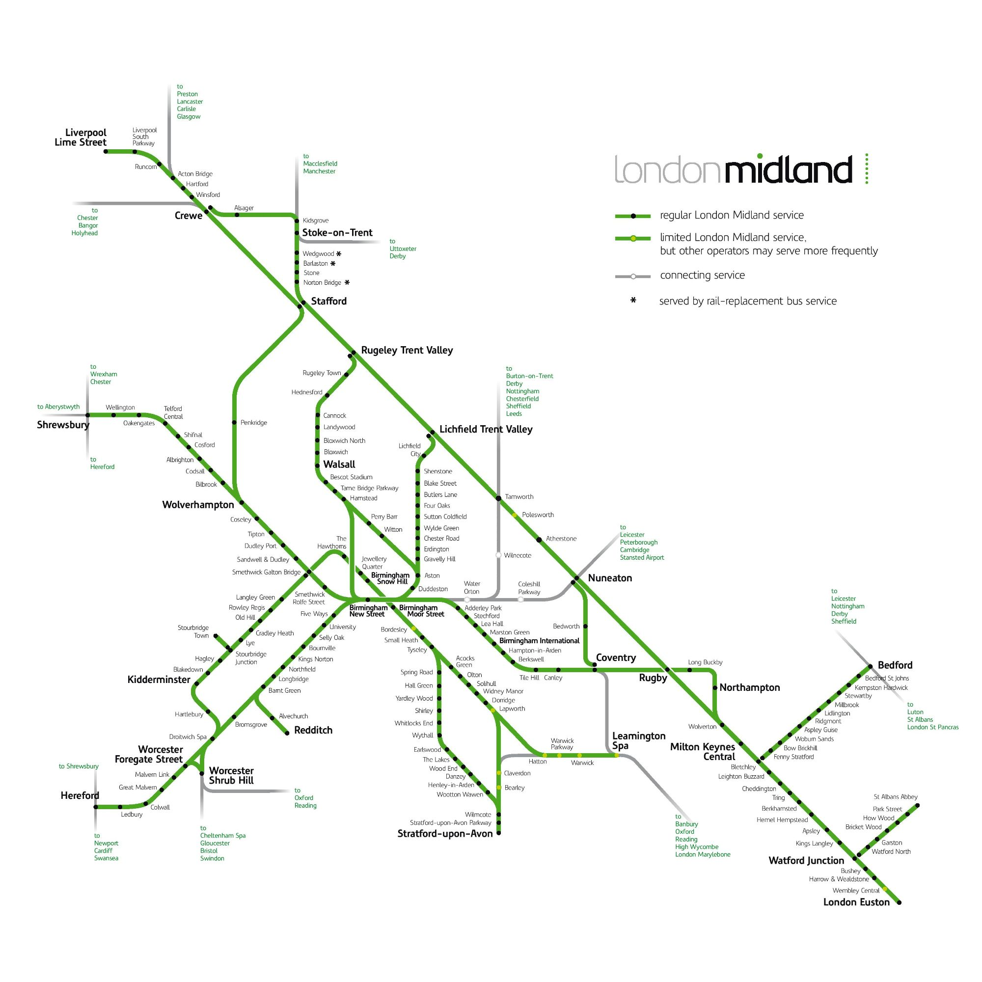 Image showing the London Midland route map circa 2015.