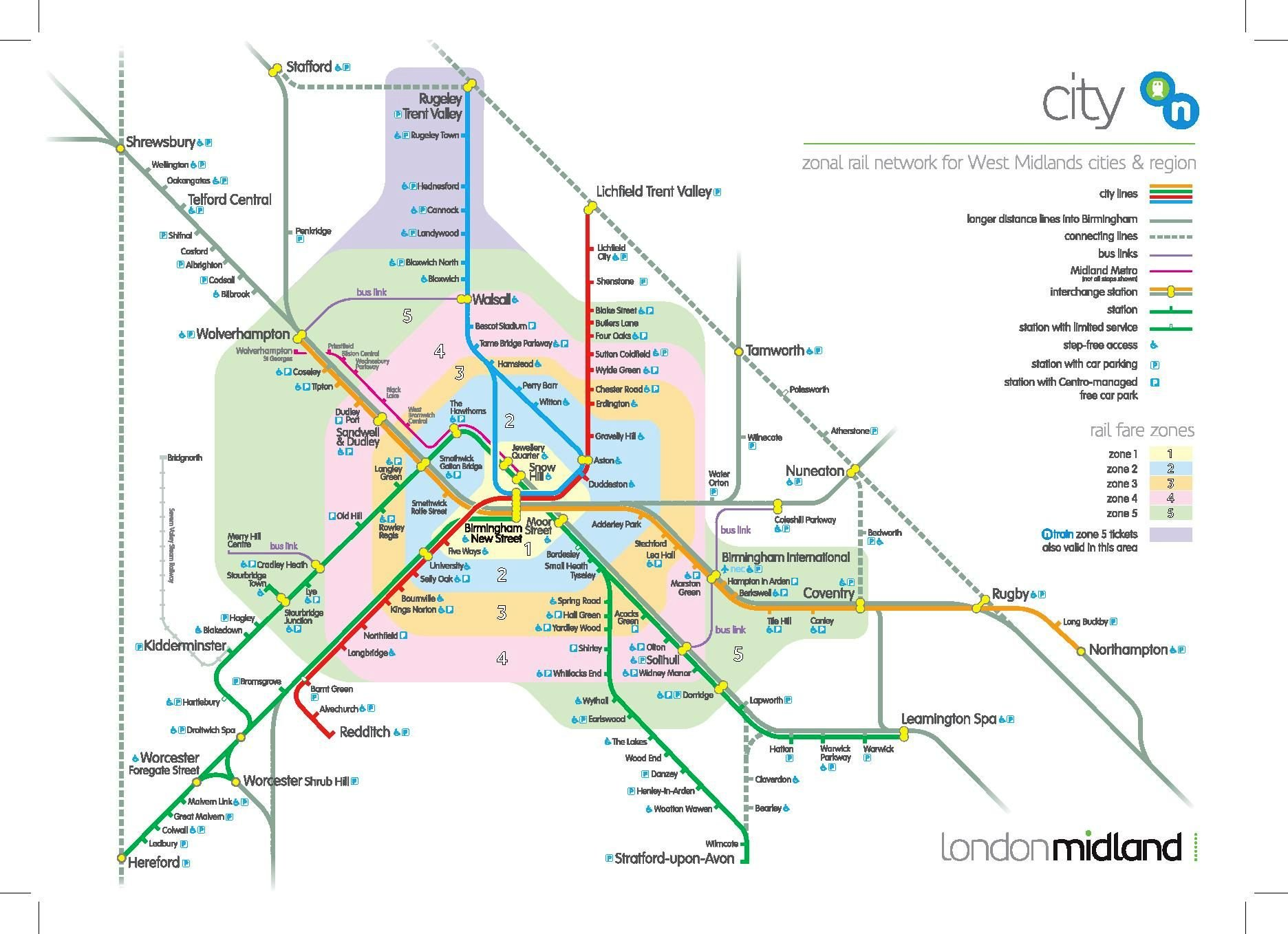Image showing the London Midland local routes map circa 2015.