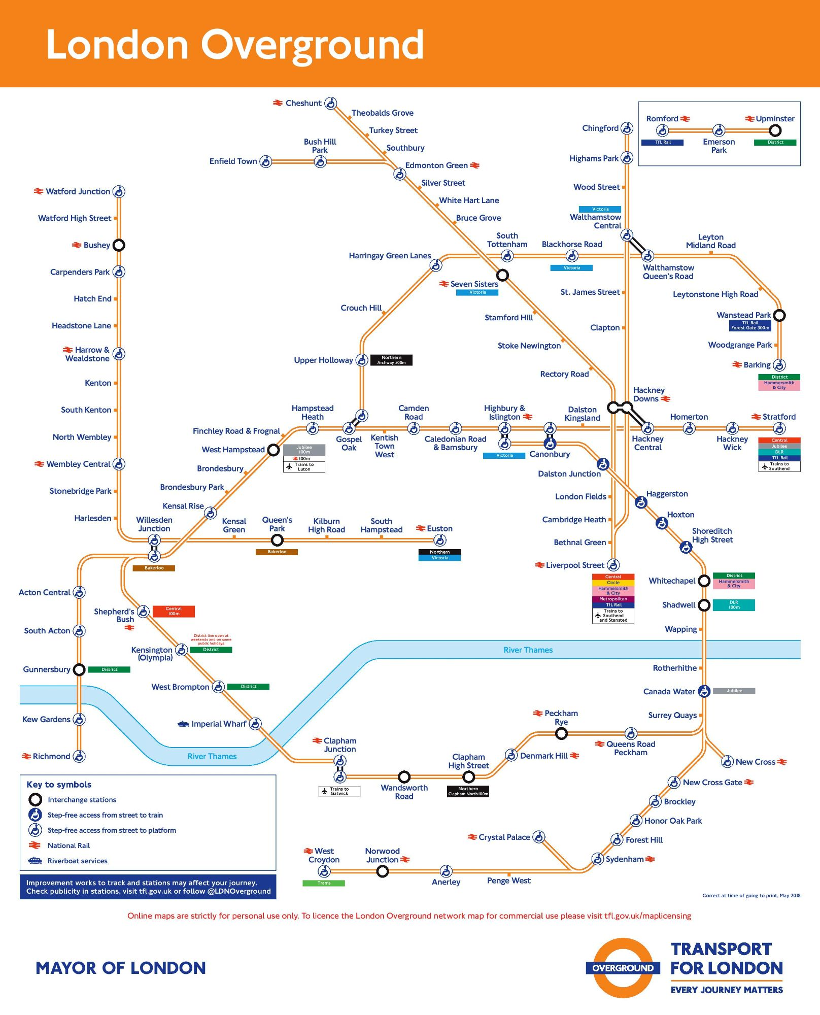 Image of the London Overground route map circa 2021.