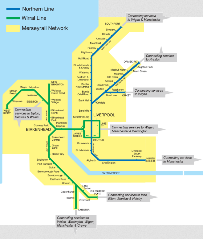 Image showing the Merseyrail route map circa 2021