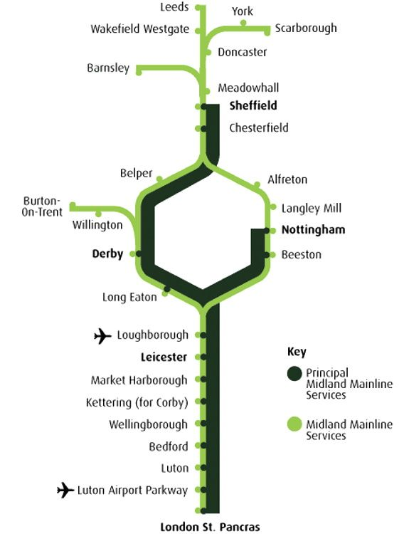Image showing the Midland Mainline route map circa 2004.