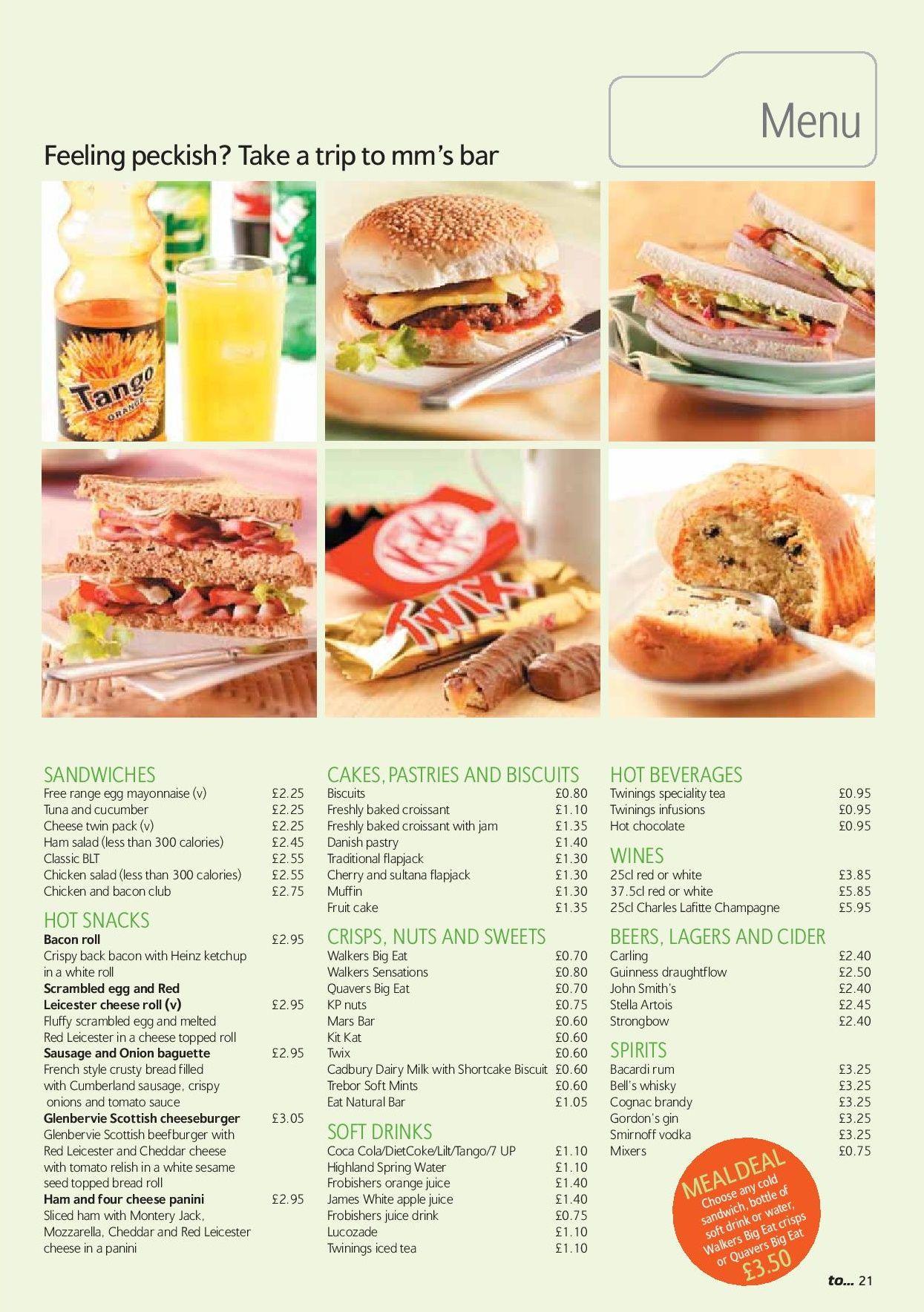 Image showing a sample of the Midland Mainline MM's bar menu circa 2006.
