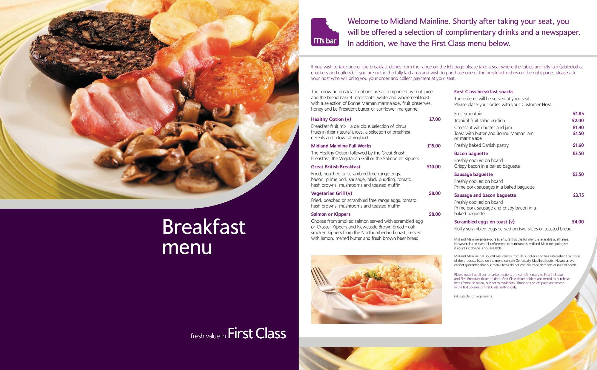Image showing a sample of the Midland Mainline breakfast menu circa 2007.