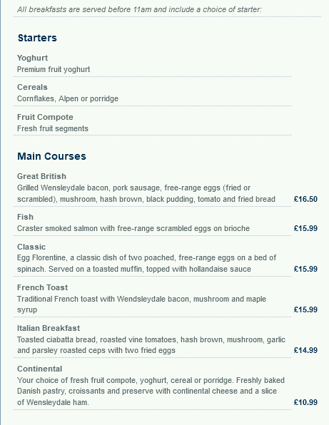 Image showing a sample of the National Express East Coast restaurant breakfast menu circa 2009.