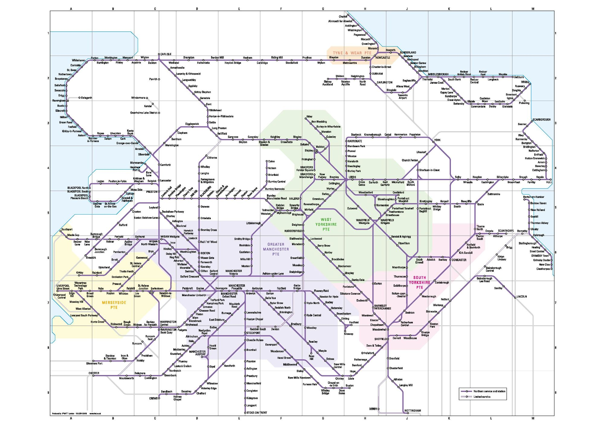 Image showing the Northern Rail route map circa 2015.