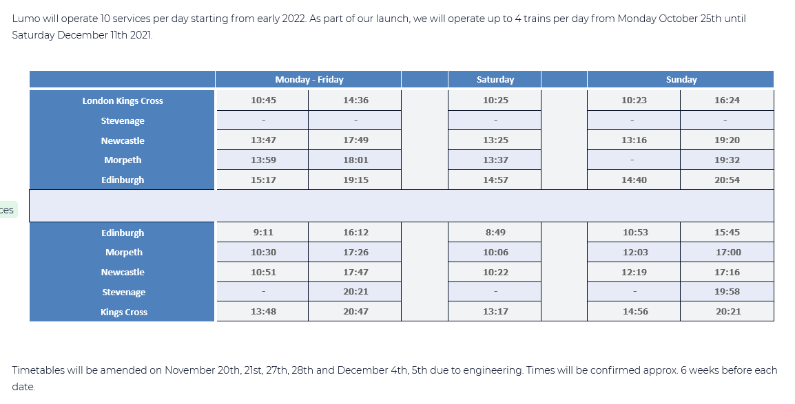 Image showing the initial Lumo timetable.