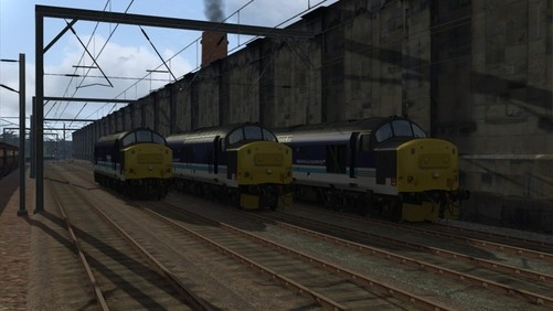 Image showing screenshot of the free Regional Railways repaint of the Class 37 locomotive included with the Edinburgh-Glasgow Route Add-On DLC