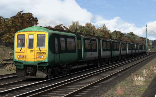 Image showing screenshot of the free Southern Trains repaint of the First Capital Connect Class 319 EMU