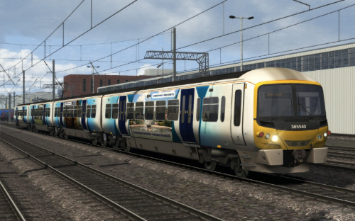 Image showing screenshot of a free repaint of the Class 365 EMU that is included with the East Coast Main Line London-Peterborough Route Add-On DLC