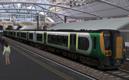 Image showing screenshot of the free Class 350 London Midland repaint of the Class 450 EMU included with the London to Brighton Route Add-On DLC