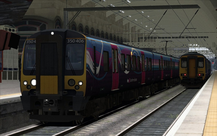 Image showing screenshot of the free Class 350 Transpennine repaint of the Class 450 EMU included with the London to Brighton Route Add-On DLC